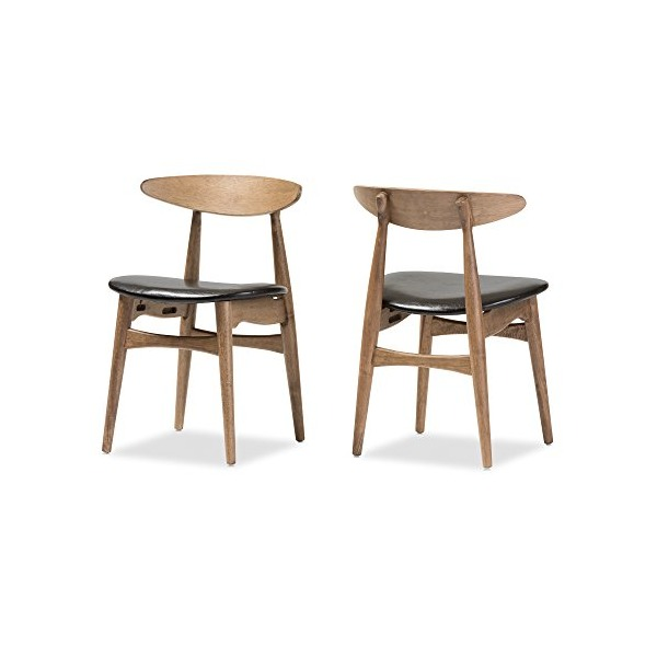 Baxton Studio Juliette Mid-Century Modern Finishing Bentwood Dining Chair (2 Pack), French Oak