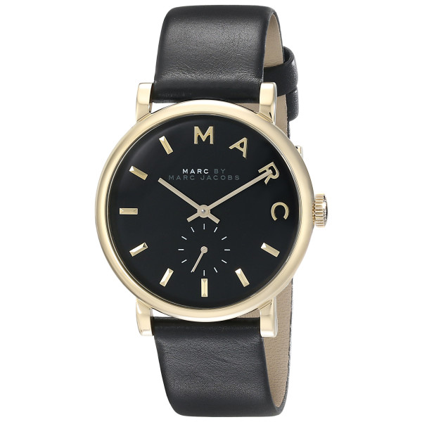 Marc by Marc Jacobs Women's Leather Baker Watch, Black/Rose Gold