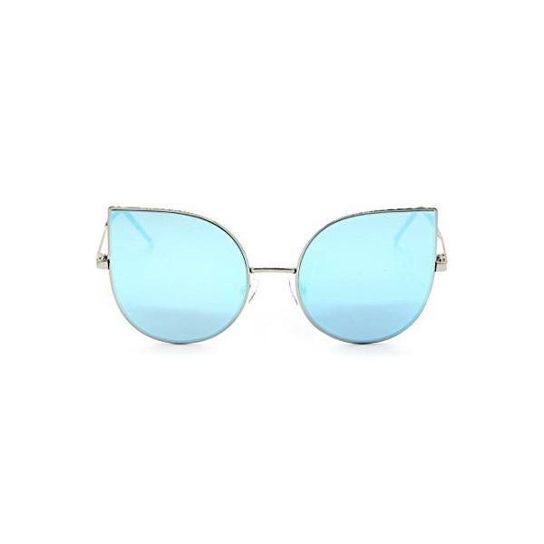 SojoS Cat eye mirrored flat lenses Ultra Thin Ultra Light metal frame women Sunglasses SJ1022 With Blue Lens