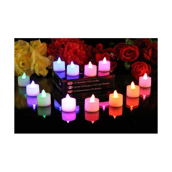 PK Green Set of 12 Colour Changing LED Candles, Mood Lights for Festivals