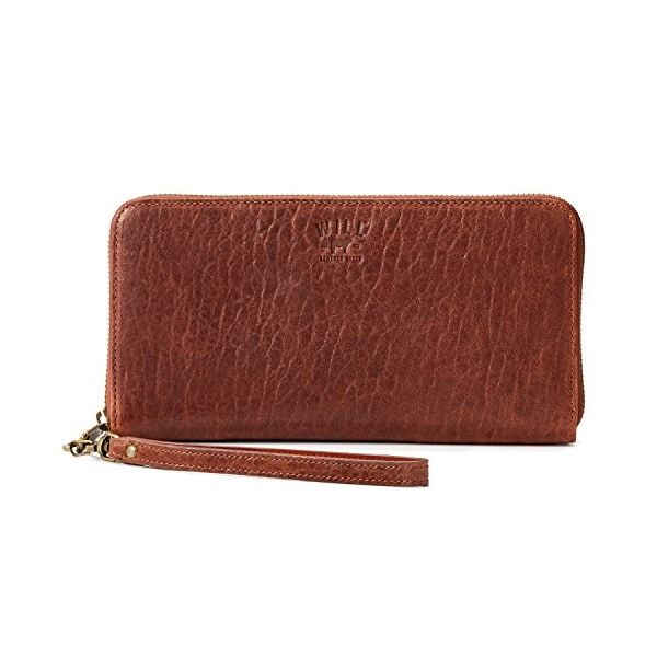 Will Leather Goods Washed Lamb Wallet Collection Imogen Checkbook Clutch Cognac Washed Italian Lambskin
