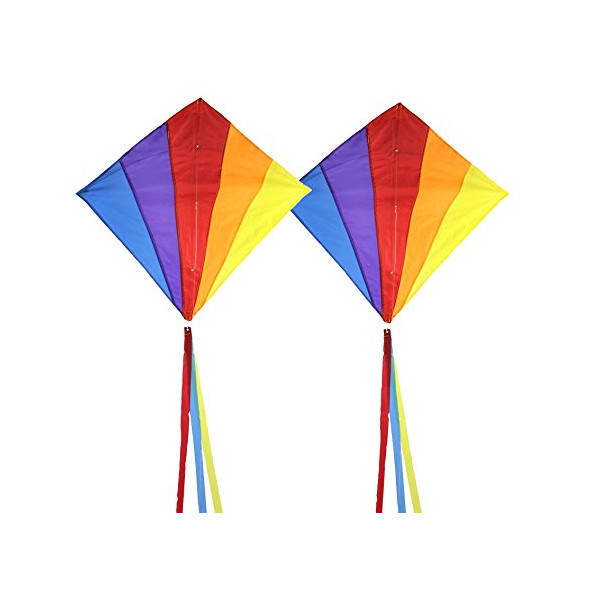 El Rey 30-inch Diamond Kite. Easy-to-Fly. Includes: Kite, Handle with 170-feet of Nylon Flying Line, Carrying Case, (3) 12-foot Tails in Coordinating Colors and the El Rey No-Hassle Lifetime Warranty (2 Pack)