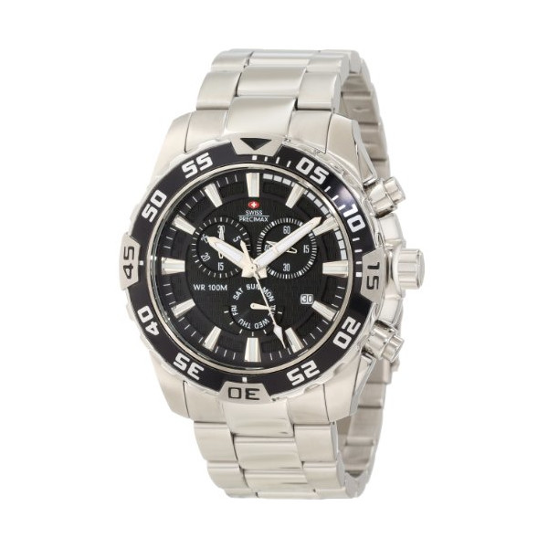 Swiss Precimax Men's SP12057 Formula-7 Pro Black Dial with Silver Stainless-Steel Band Watch