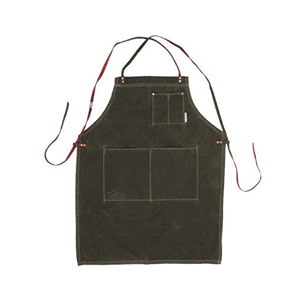 Iron And Resin Waxed Canvas Apron - Olive