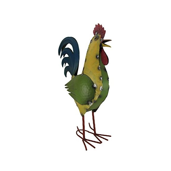 Colorful Rooster Metal Outdoor Statue