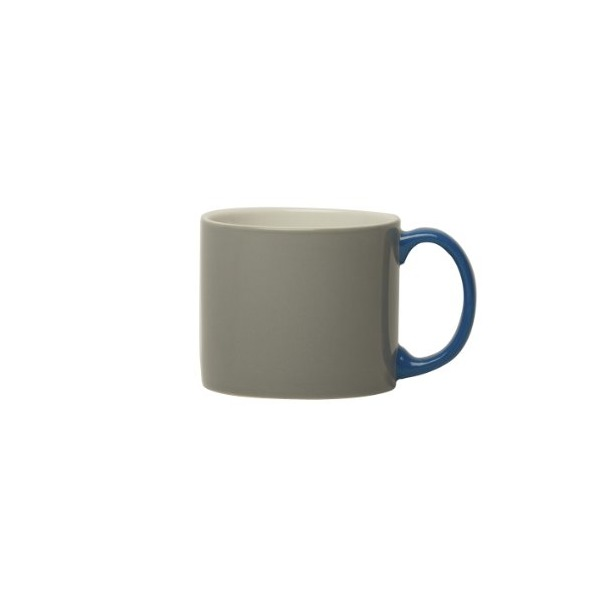 Jansen + Co, My Mug Grey, Blue Handle, Set of Six of the Same Color