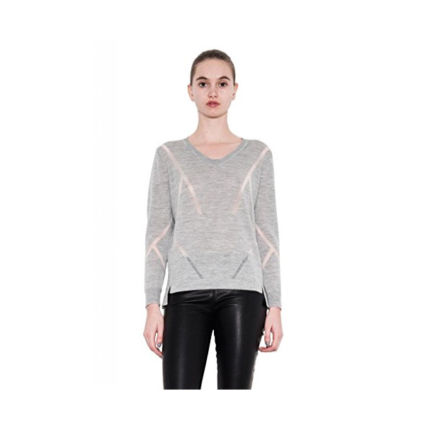 Chloe Step Hem Light Grey Sweater for Women by One Grey Day-S