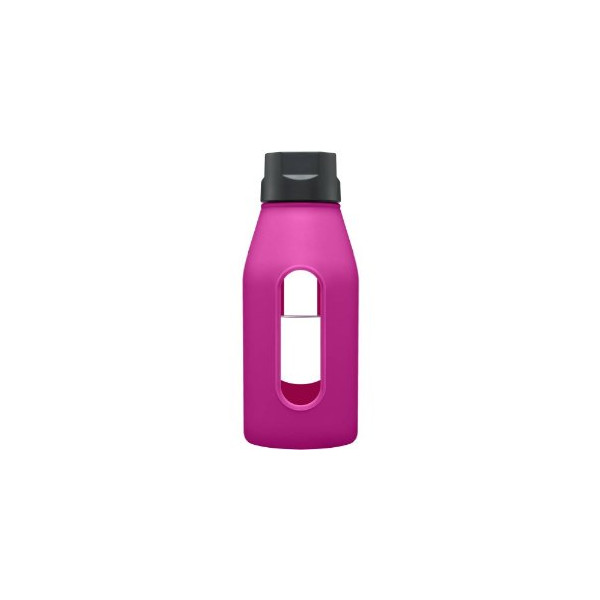 Takeya 12 oz Glass Water Bottle with Silicone Sleeve, Fuchsia