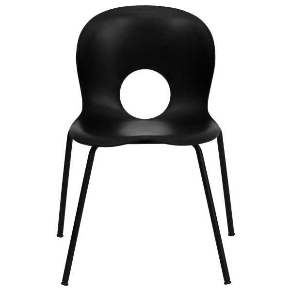 Flash Furniture GG Hercules Series 400-Pound Designer Black Plastic Stack Chair