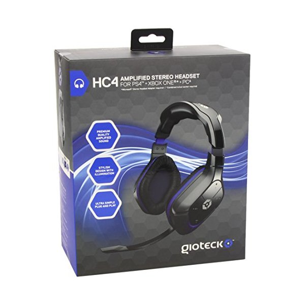 Gioteck HC-4 Amplified and Illuminated Wired Stereo Gaming Headset for PS4, Xbox One and PC