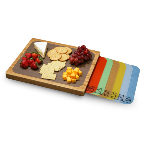 Seville Classics Bamboo Cutting Board with Removable Mats