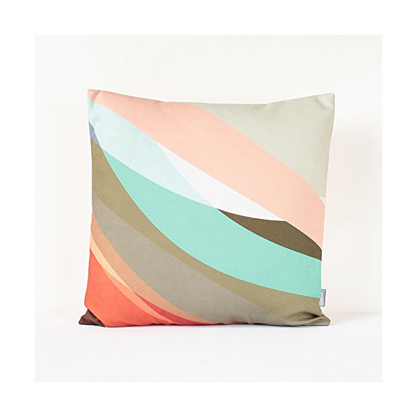 "Abstract Pastel Pillow Cover in Tan, Gray, Red, Sugar Pink, Mint and Brown / Modern Cushion / Abstract Cushion / Pastel Pillow / 18"" x 18"" Throw Pillow"