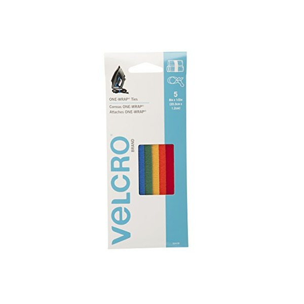 "VELCRO - ONE-WRAP: For Cables, Wires & Cords - 8"" x 1/2"" Ties, 5 Ct. - Multi-color"