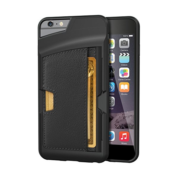 "iPhone 6 Plus Wallet Case - Q Card Case for iPhone 6 Plus (5.5"") by CM4 - Ultra Slim Protective *Kickstand* Credit Card Carrying Case (Black Onyx - v2)"