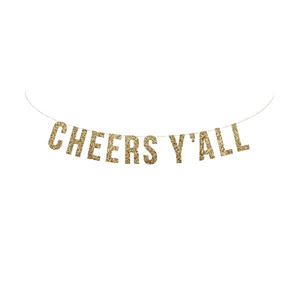 Gold glitter CHEERS Y'ALL garland