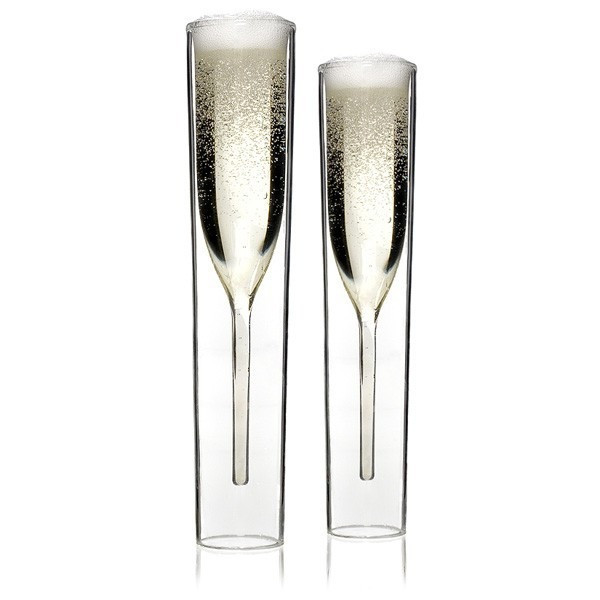 Inside Out Double-Walled Glass Champagne Flutes