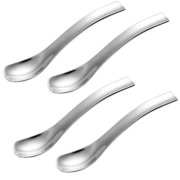 KEDSUM (4 PACK) Ice Cream Scoop Tea Spoons,5 Inch 18/10 Solid Stainless Steel Coffee Scoop Soup Spoon,Dishwasher Safe,Heat Resistant,Corrosion Resistant