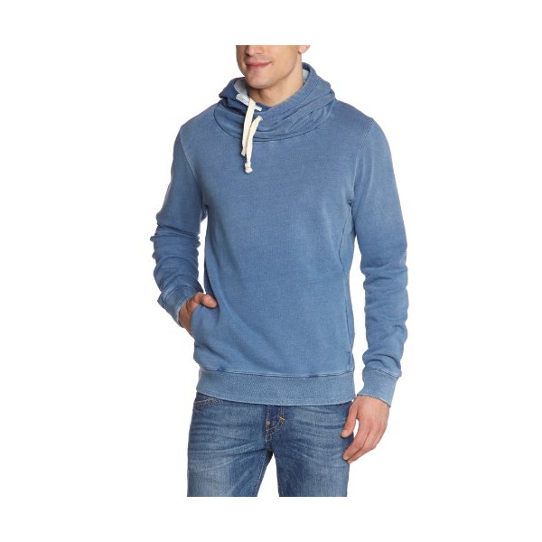 Scotch & Soda Men's Twisted Neck Fleece Hoodie, Washed Indigo, Large