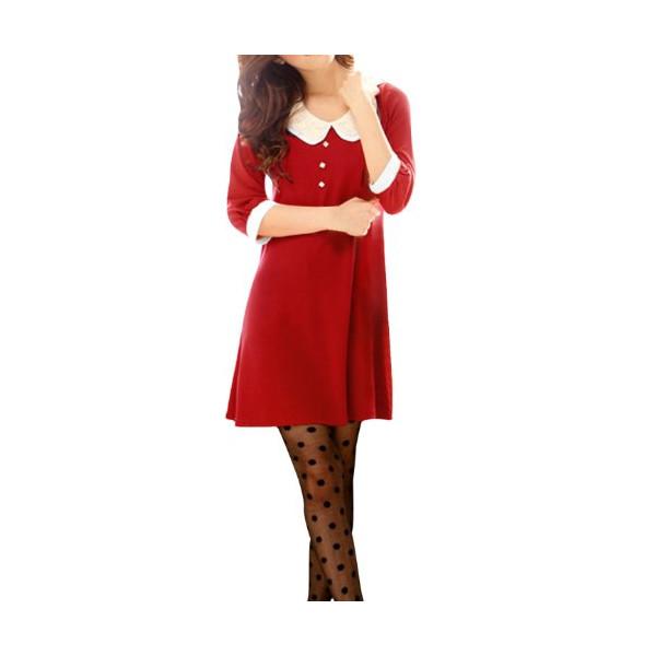 Allegra K Women Sweet Layered Tiered Crochet Doll Collar 3/4 Sleeve Shift Dress, XS, Red