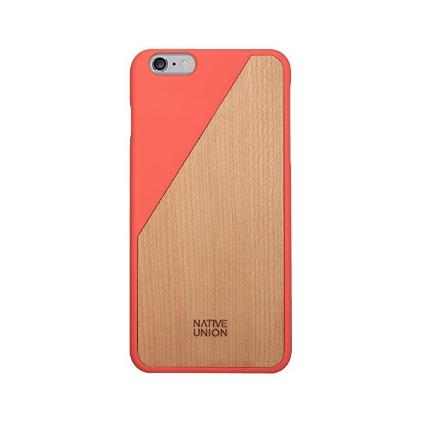 Native Union CLIC Wooden Case for iPhone 6 Plus, iPhone 6s Plus - Handcrafted Real Cherry Wood Protective Slim Case Cover (Coral)