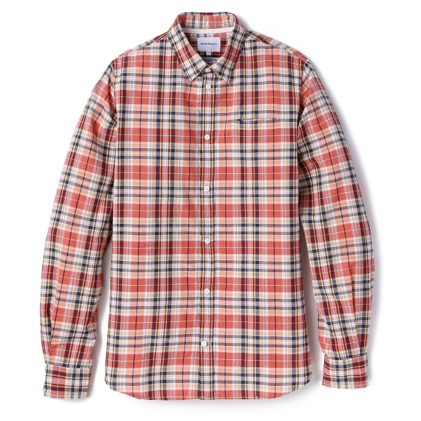 Norse Projects Men's Anton Madras Shirt, Blood Orange