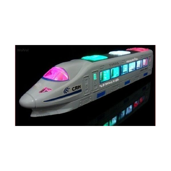 WolVol Electric Train Toy with Beautiful Flashing Lights and Music, goes around and changes directions on contact (Battery Powered) - Great Gift for Kids