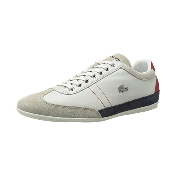 Lacoste Men's Misano 15 LCR Fashion Sneaker, Off White/Blue/Red, 9 M US