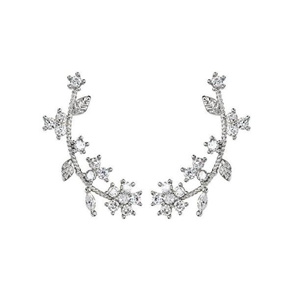 OKAJEWELRY 925 Sterling Silver Post Cubic Zircon Flower Ear Sweep Wrap Cuff Earrings (silver-plated-base)