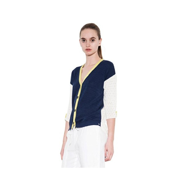 Women's Color Blocked Button Up Knit Cardigan Navy 3/4 Sleeves One Grey Day-L