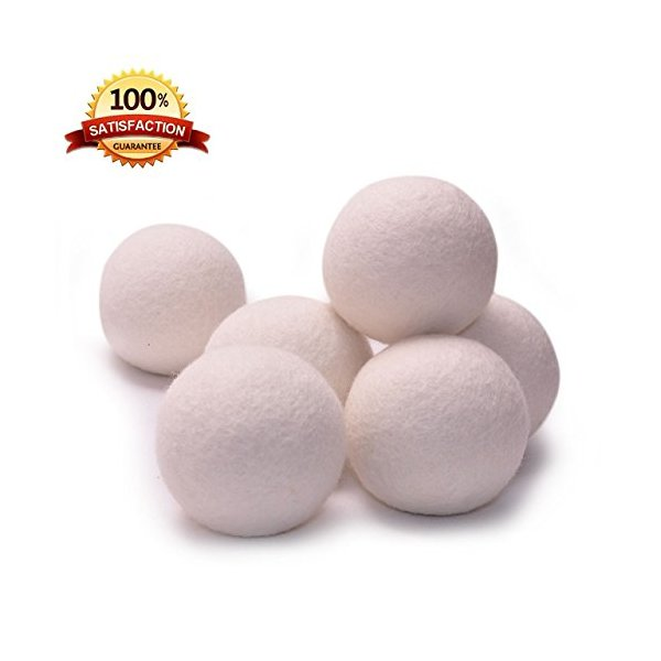 Wool Dryer Balls - 6 Pcs - XL Size - Baby Safe & Unscented Natural Fabric Softener - 100% Organic, No-Fillers New Zealand Wool Dry Balls