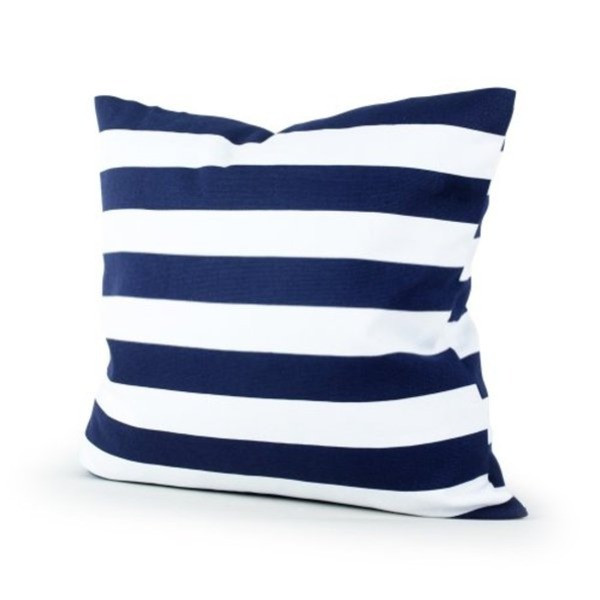 Lavievert Canvas Square Throw Pillow Cover Cushion Case Navy Blue Stripe with Hidden Zipper 18 X 18""