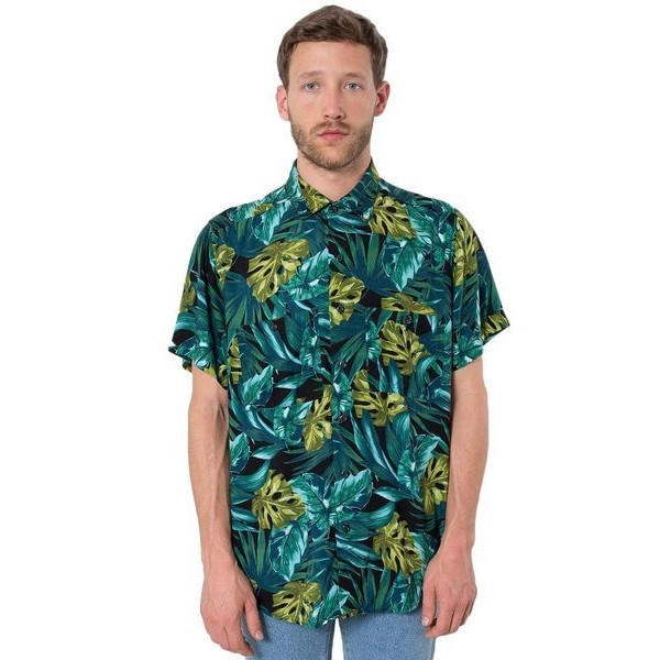 American Apparel Men's Printed Rayon Challis Short-Sleeve