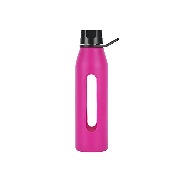 Takeya 22 Ounce Classic Glass Water Bottle with Silicone Sleeve and Twist Cap, Fuchsia