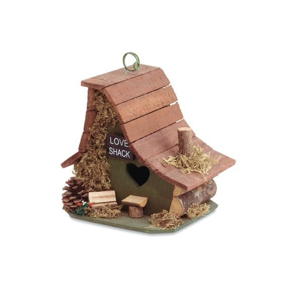"SWM 29634 8"" L x 6 1/2"" W x 8"" H Love Shack Birdhouse - Wood."
