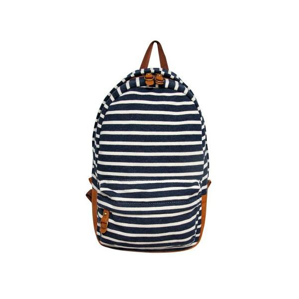 Carrot At-23171 Striped Fleece Backpack (Dark Blue)