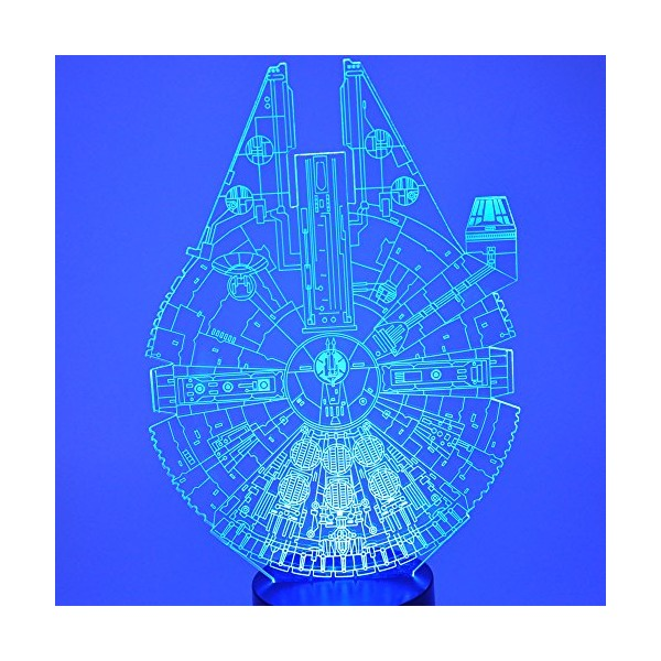 7 Colors Amazing Optical Illusion 3D Glow LED Lighting Toys Decor Lamp (Star Wars Millennium Falcon Model)