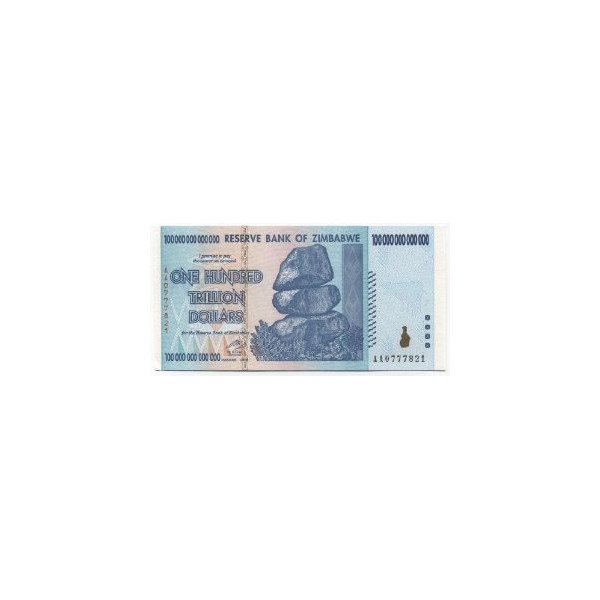 Zimbabwe 100 Trillion Dollar Bill Banknote 2008 Uncirculated in Sequential Number