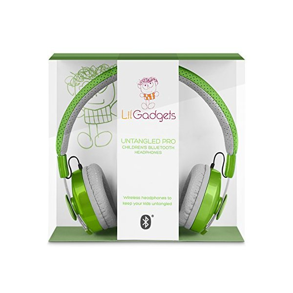 LilGadgets Untangled Pro Children's Wireless Bluetooth Headphones with SharePort (Green)