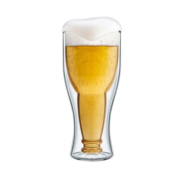 Final Touch Bottoms Up Double Wall Beer Glass