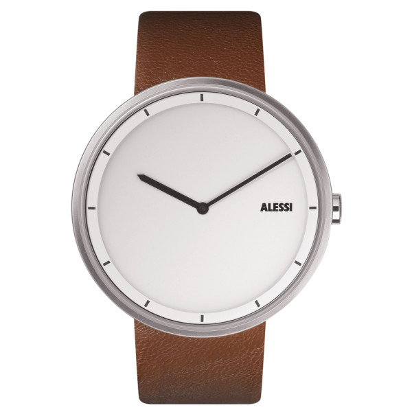 Alessi Unisex Out Time Brown Leather Strap Watch