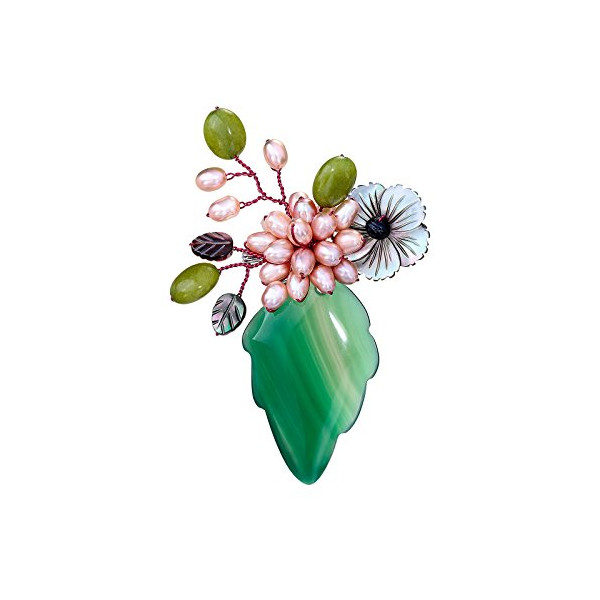 OKAJEWELRY Emerald Agated Leaves Flower Brooch Pins Attach Simulate Pearl Beads Pin
