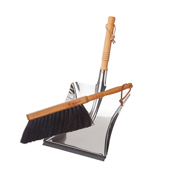 Bürstenhaus Redecker Dust Pan and Brush Set, Horse Hair, Stainless Steel and Beechwood