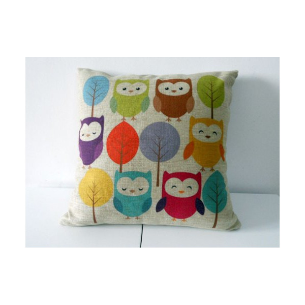 "Decorbox Cotton Linen Square Throw Pillow Case Decorative Cushion Cover Pillowcase Cartoon Cute Owls and Trees 18 ""X18 """