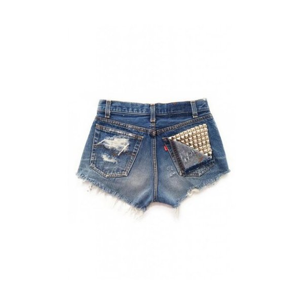 Women's Shredded Vega Vintage Wrangler's Studded Pocket Ripped Front Denim Shorts-L