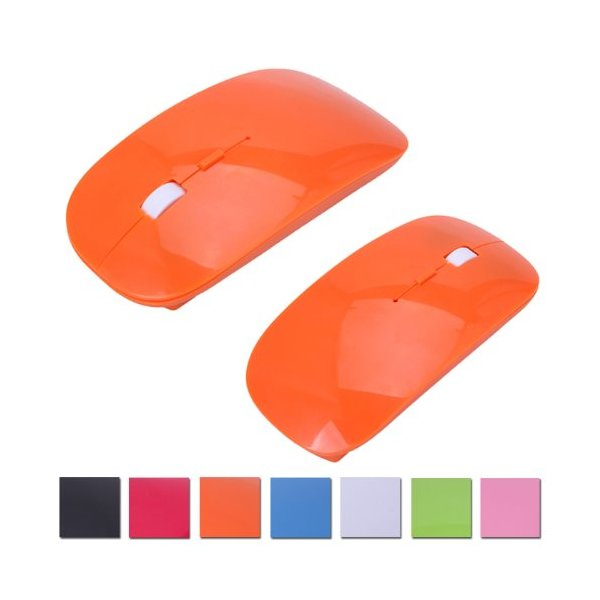 HDE Sleek Ergonomic Curved Wireless 2.4 GHz Optical Slim Mouse with DPI Switch (Orange)