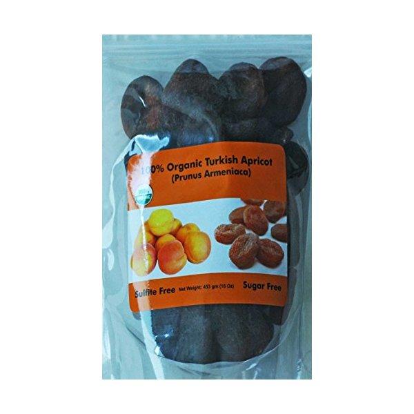 Indus Organic Turkish Jumbo Dried Apricots, 1 Lb, Sulfite Free, No Added Sugar, Freshly Packed, Premium Grade
