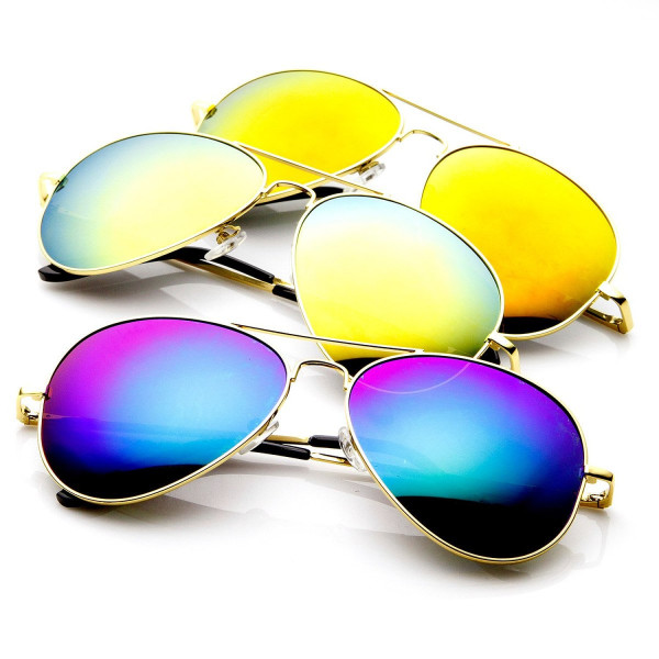 Framework 1486 Color Mirrored Aviator Sunglasses with Spring Hinge, 3 Pack, Gold Set