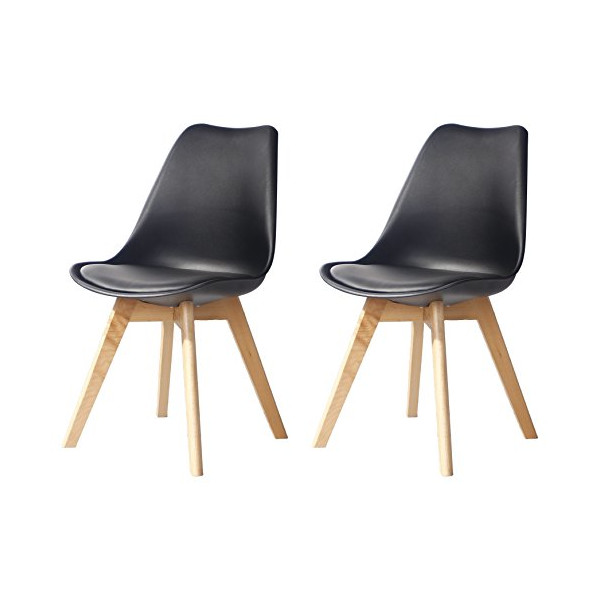 Creation Yusheng Eames Style Soft Padded Seat Dining Chair Set of 2, Modern and Body Engineering Design Chairs with Wooden Leg, Black