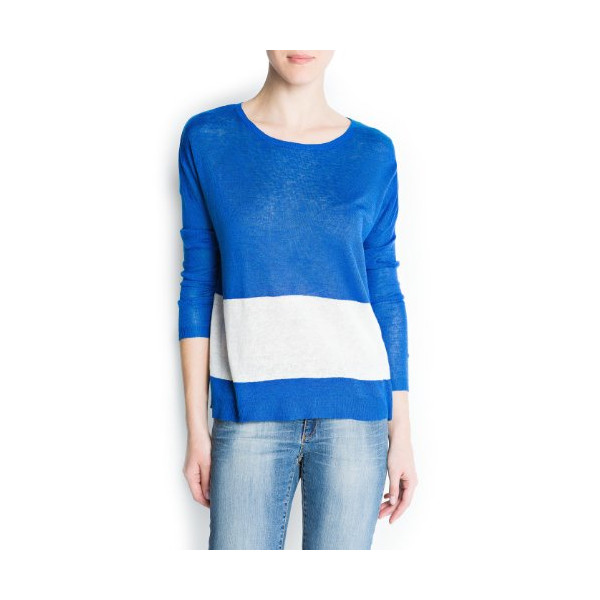 Mango Women's Contrast Block Sweater, Neon Blue, Xs