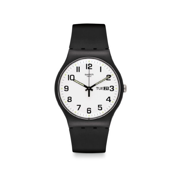 Swatch Originals Twice Again White Dial Black Silicone Unisex Watch SUOB705